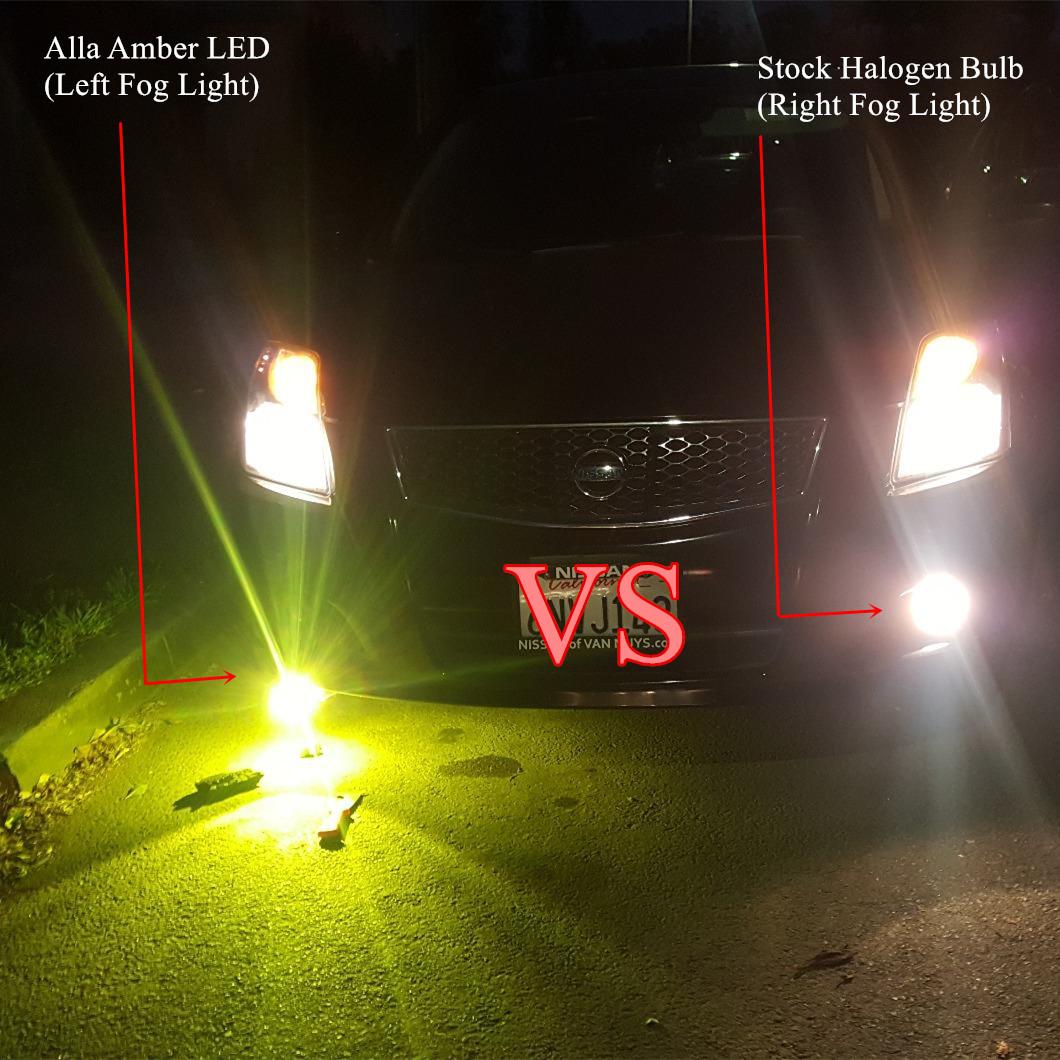Alla AL-R H8 H16 H11 LED Vs Halogen 55W Fog Lamps 6000K White Bulbs