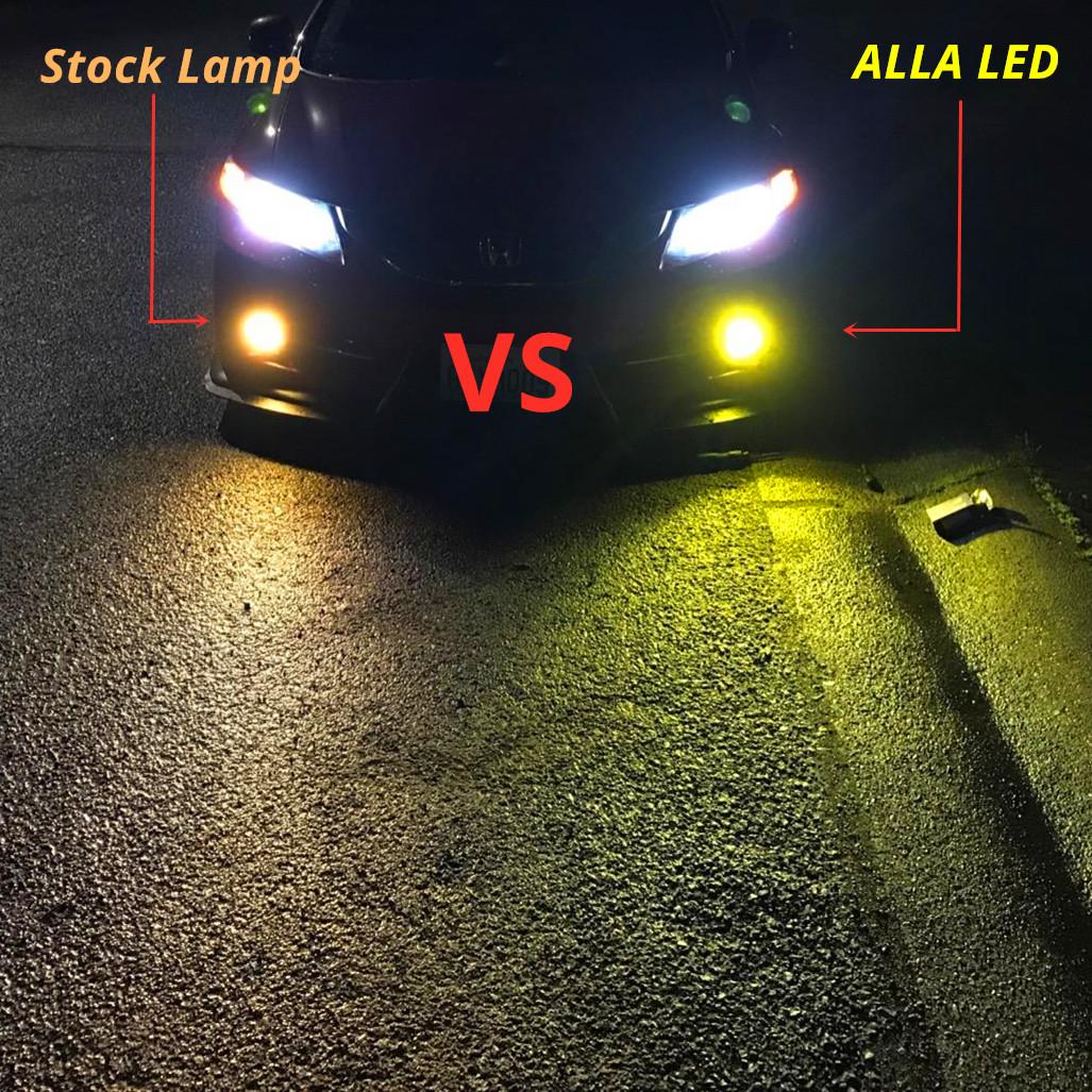 2504-PSX24W-LED-Fog-Light-Bulbs-3000K-amber-yellow-vs-12276-halogen-Lamps