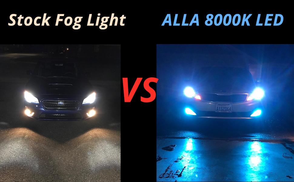 2504-PSX24W-LED-Fog-Light-Bulbs-8000K-Ice-Blue-vs-12276-Halogen-Lamps