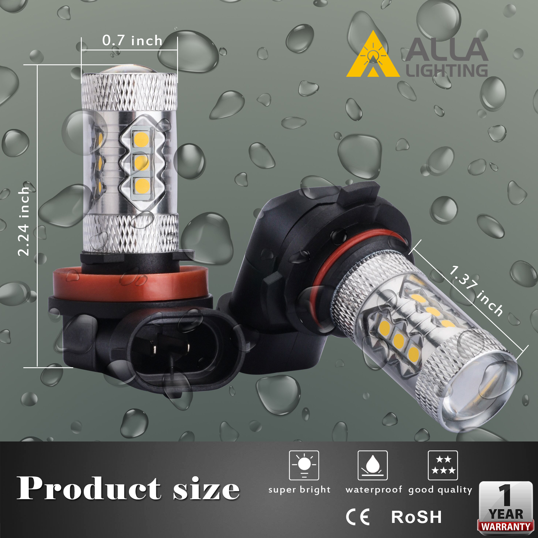 5201-DRL-5202-LED-Fog-Lights-Bulbs-PS19W-12085-3000K-Amber-Yellow