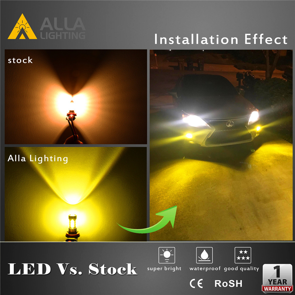 3030-SMD 9145 H10 LED Bulbs 3000K Yellow Fog Lights VS Halogen Lamp