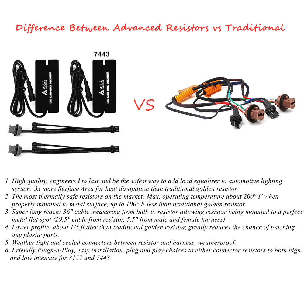 Difference Between advanced 7443 CANBUS LED Resistors vs 6ohm