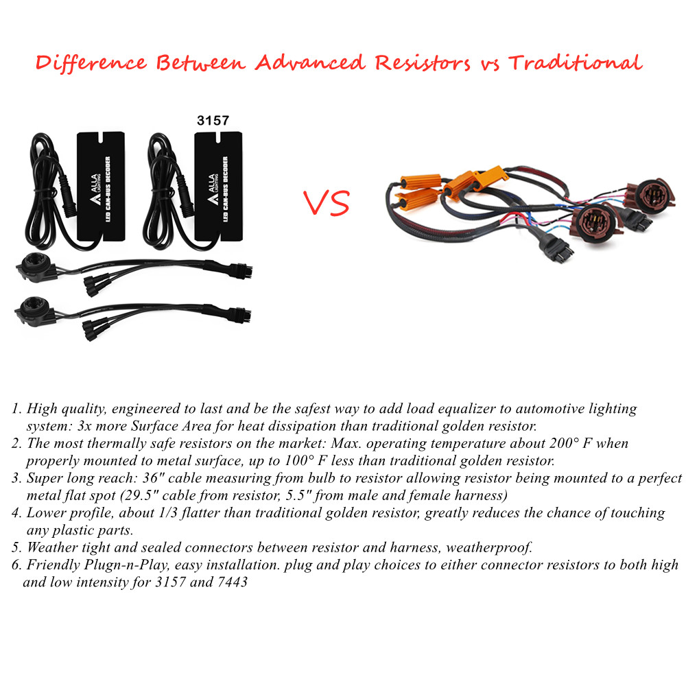 Difference Between advanced T25 3157 CANBUS LED Resistors vs 6ohm
