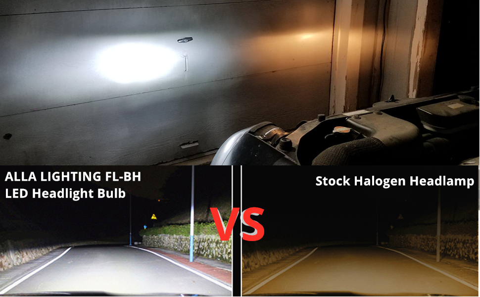 Alla Lighting FL-BH H1 LED Headlights Bulbs vs H1 Halogen Headlamp