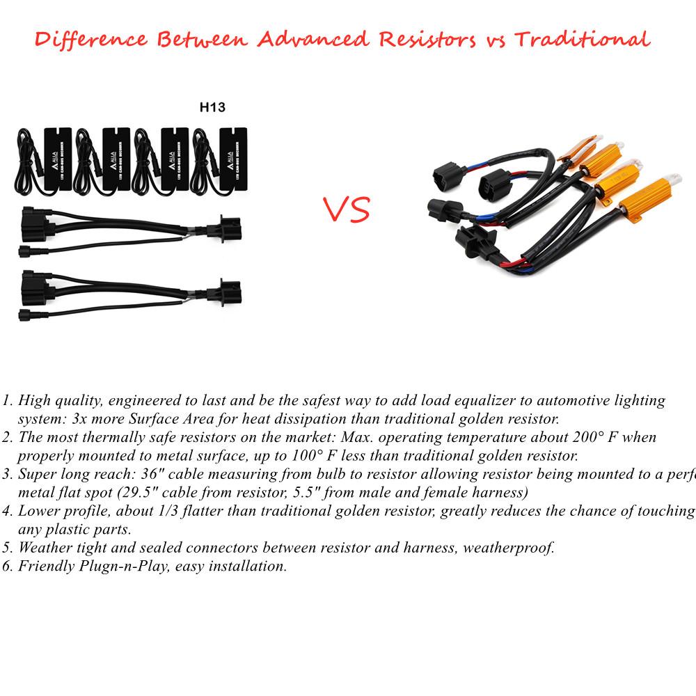 Difference-advanced-9008-H13-LED-Resistors-Decoders-vs-50W-6ohm-Kits