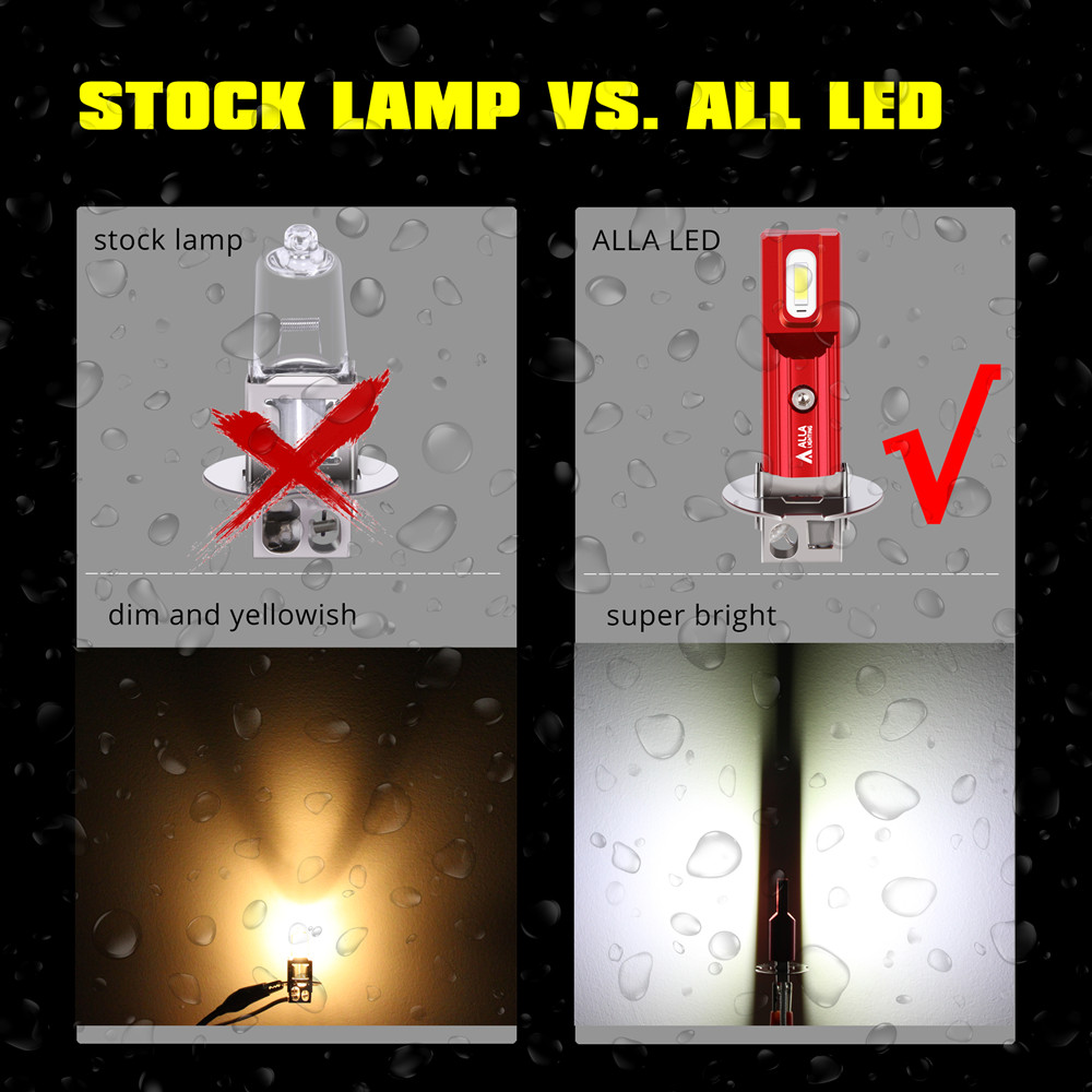 Mini 1860-SMD H3 LED Fog Lights Bulbs 6000K White vs Halogen Lamp