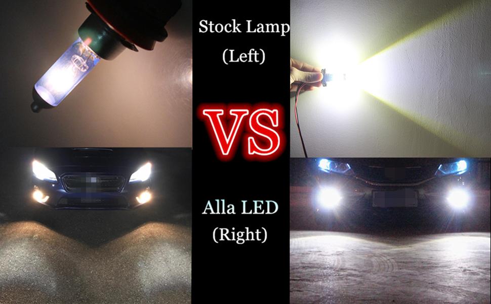 H3 LED Fog Lights Bulbs 6000K Xenon White vs Halogen Lamp Replacement
