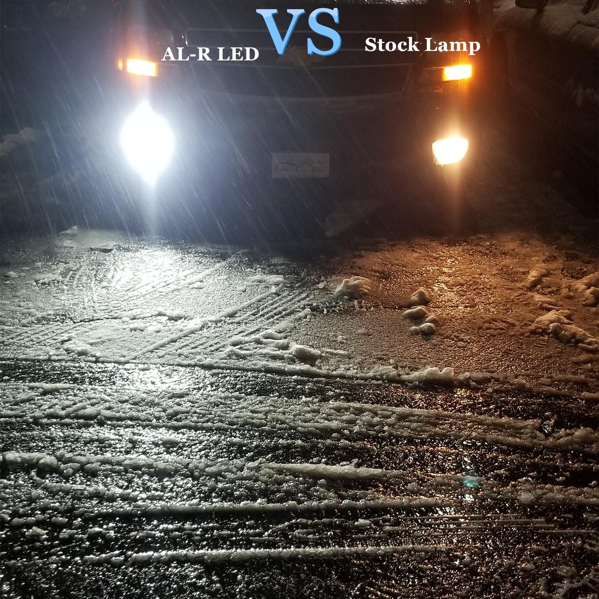 Alla AL-R HB4 9006 LED Fog Lights Bulbs 6000K White vs Halogen Lamps