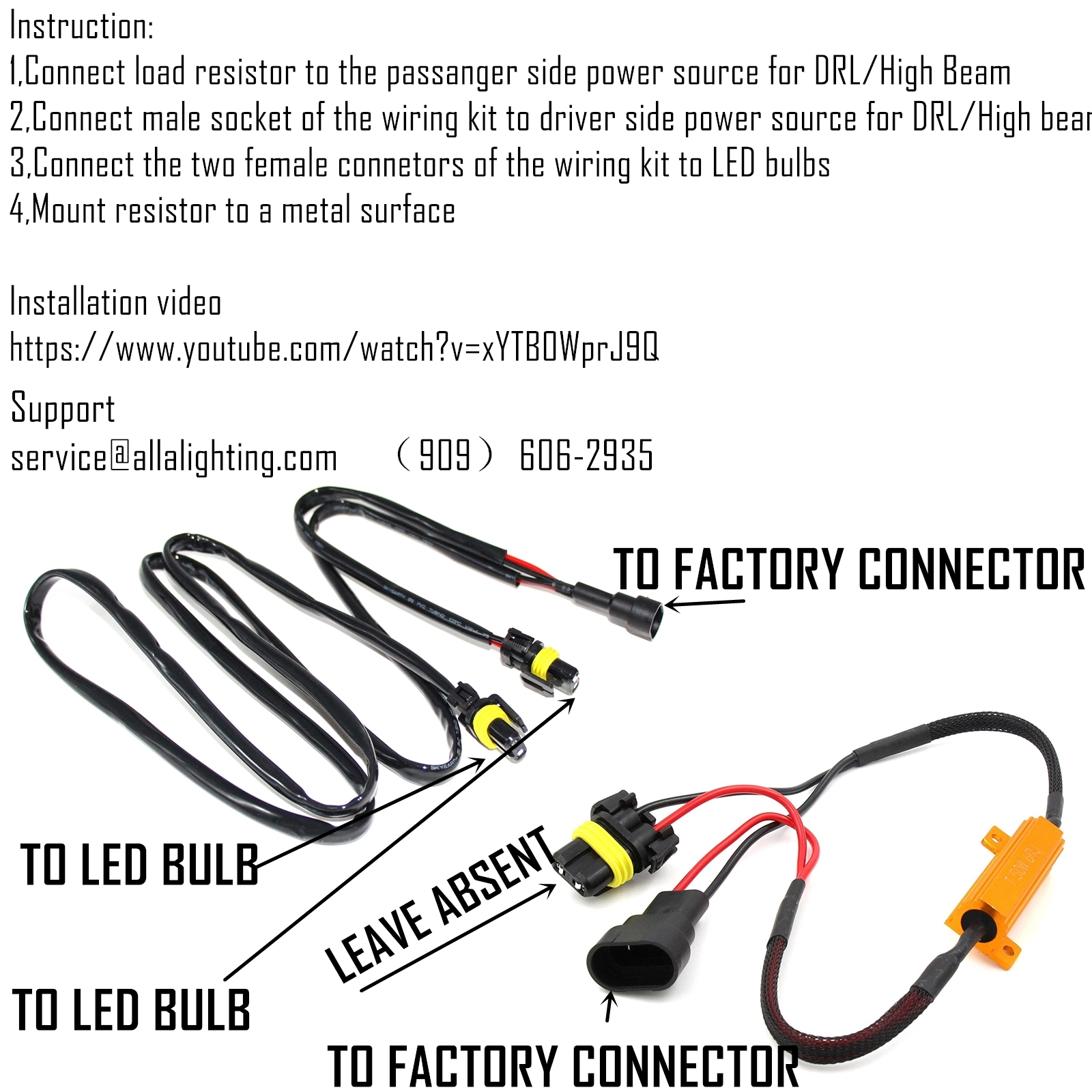 How to Install HB3 9005 LED DRL Anti-flickering + Resistors