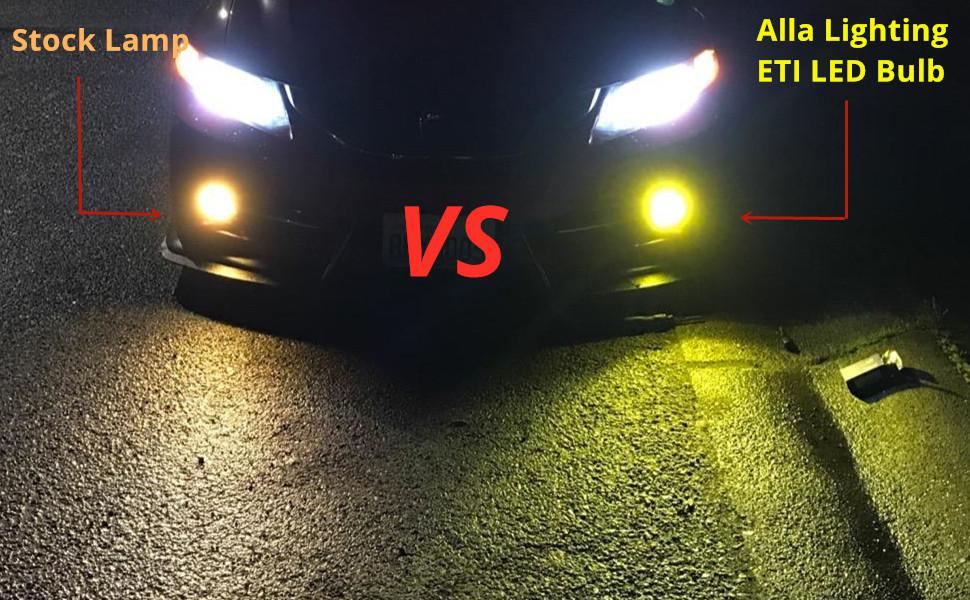 PS19W-5202-PS24WF-LED-Fog-Lights-Bulb-3000k-yellow-vs-halogen-lamp-12086