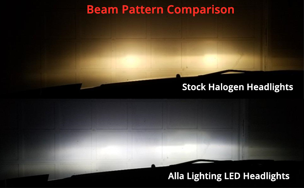 Alla Lighting S-HCR HIR2 9012 LED Headlights Bulbs VS Halogen Headlamps