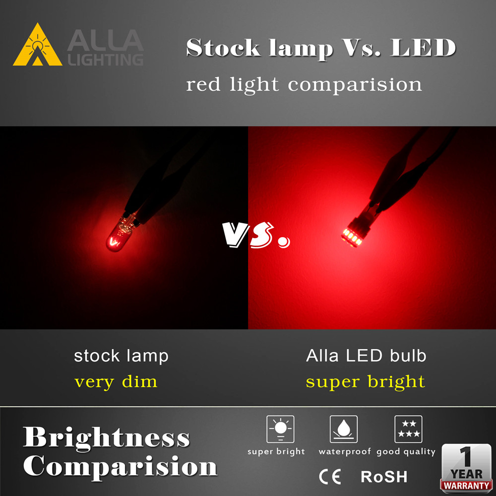 Alla W5W 2825 168 194 LED Bulbs W5W T10 Red vs Incandescent Lights
