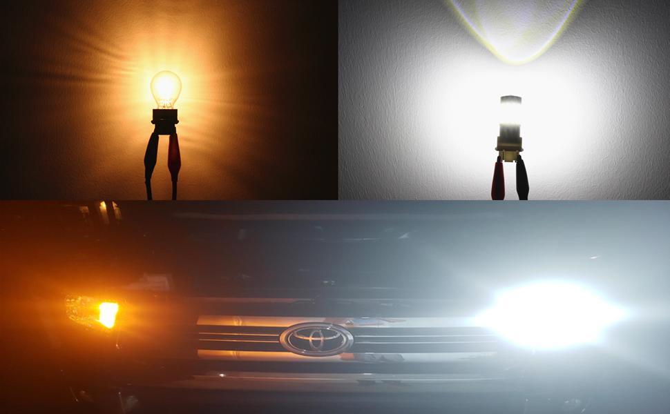T20 7440 7443 LED Bulb 6000k white vs incandescent lamp reverse light