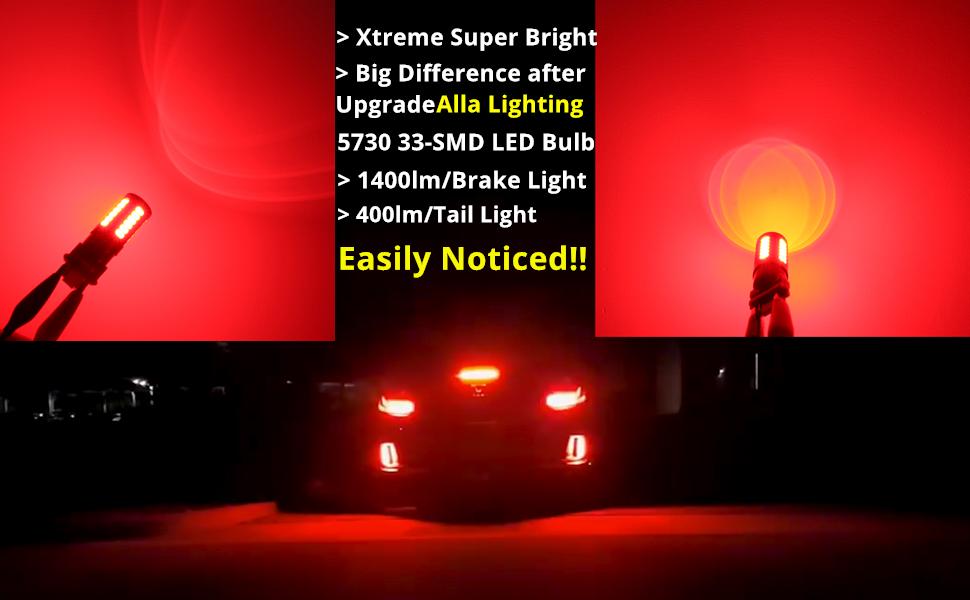 3156 3157 LED bulb red brake tail lights vs incandescent 3057 4057 T25