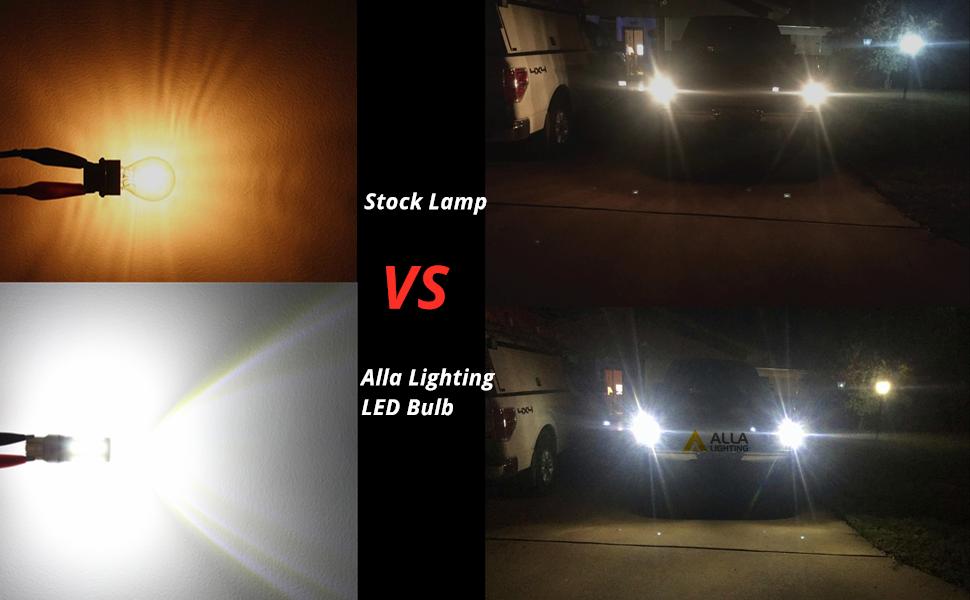 T25 3156 3157 LED Bulb white Reverse Lights vs incandescent lamp