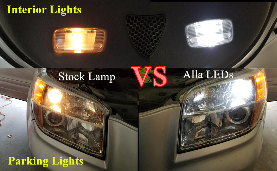 t10 w5w 168 194 LED Bulb 6000k white vs incandescent parking lights