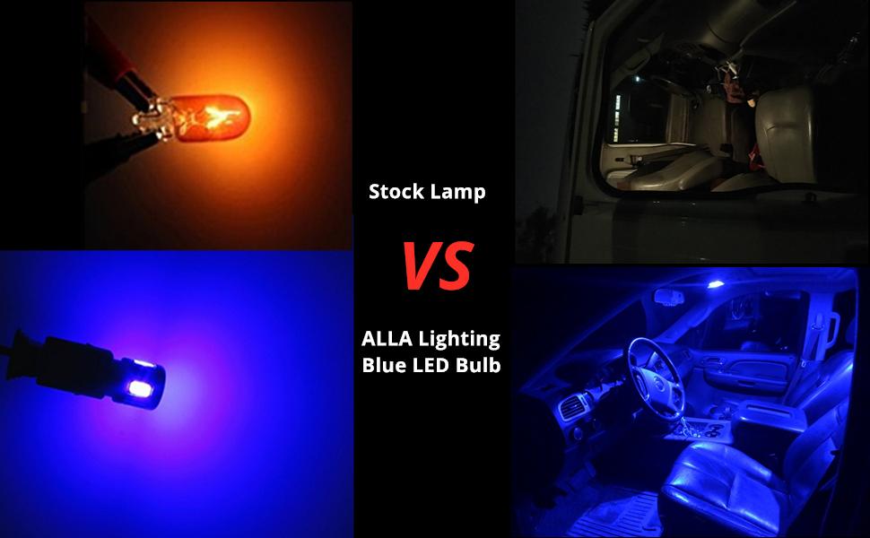 t10 168 194 LED Bulb Blue vs incandescent Interior Dome light W5W 2825